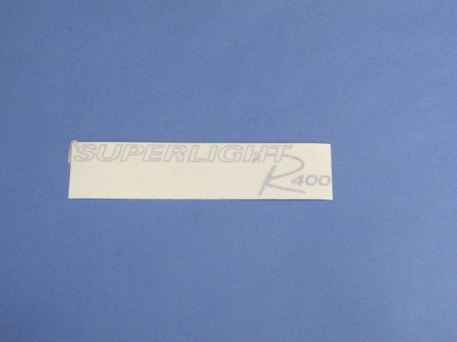 DECAL REAR R400 SUPERLIGHT MODEL SILVER