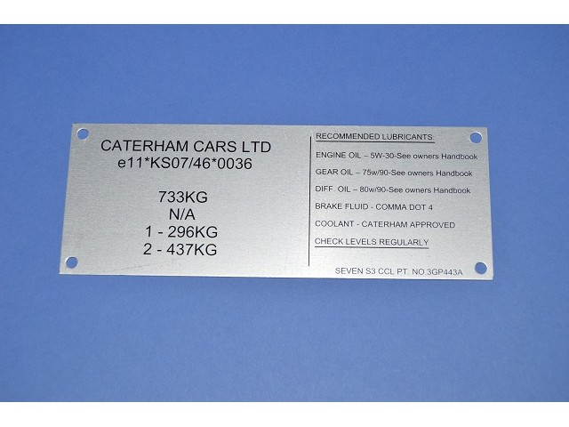 VEHICLE MANUFACTURING PLATE