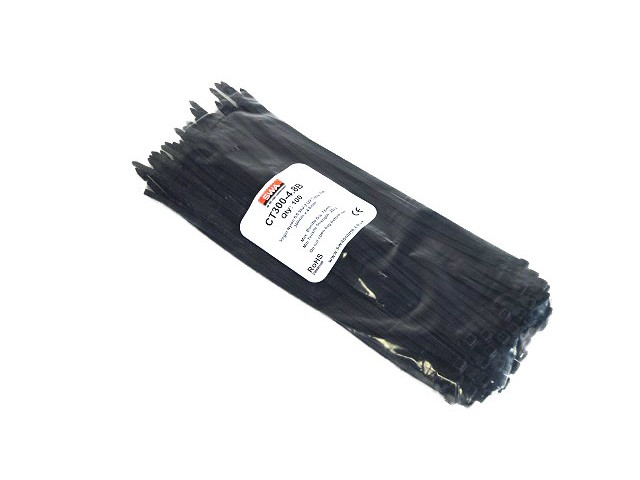 Cable Tie - Black - 3.5 x 300mm long (pack of 100)